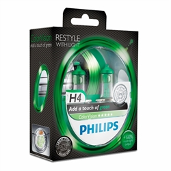 H4 PHILIPS COLORVISION GREEN 60/55W SÆT